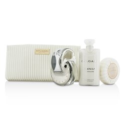 Bvlgari Omnia Crystalline Coffret: Eau De Toilette Spray 65ml/2.2oz + Jabón 75g/2.6oz + Loción Corporal 75ml/2.5oz + Bolsa  3pcs+1pouch