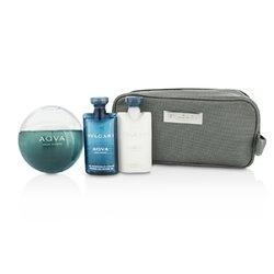 Bvlgari Aqva Pour Homme Coffret: Eau De Toilette Spray 100ml/3.4oz + Shampoo & Shower Gel 75ml/2.5oz + After Shave Balm 75ml/2.5oz + Pouch  3pcs+1pouch