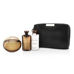 Bvlgari Aqva Amara Coffret: Eau De Toilette Spray 100ml/3.4oz + Bálsamo para Después de Afeitar 75ml/2.5oz + Gel de Ducha 75ml/2.5oz + Pouch  3pcs+1pouch