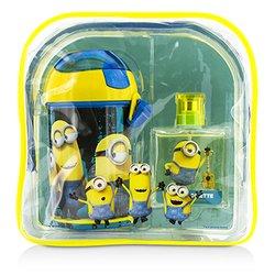 Air Val International Minions Coffret: Eau De Toilette Spray 50ml/1.7oz + Water Bottle + Backpack  2pcs+1bag