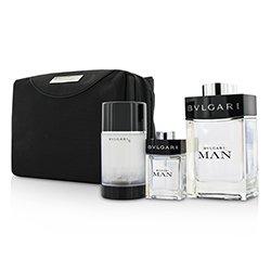 Bvlgari Man Coffret: Eau De Toilette Spray 100ml/3.4oz + Travel Spray 15ml/0.5oz + Deodorant Stick 75ml/2.7oz  + Travel Pouch  3pcs+pouch