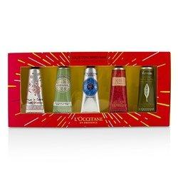 לאוקסיטן Hand Cream Collection Set: Cherry Blossom + Almond + Shea Butter + Rose + Verveine (Verbena)  5x30ml/1oz