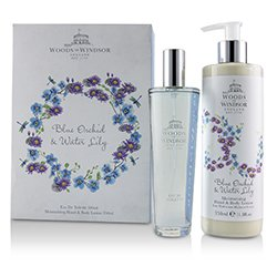 Woods Of Windsor Blue Orchid & Water Lily Coffret: Eau De Toilette Spray 100ml/3.3oz + Moisturising Hand & Body Lotion 350ml/11.8oz  2pcs