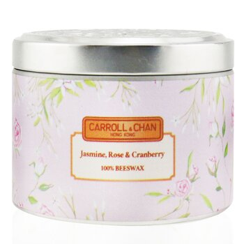 100% Beeswax Tin Candle - Jasmine Rose Cranberry  (8x6) cm