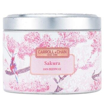 100% Beeswax Tin Candle - Sakura  (8x6) cm