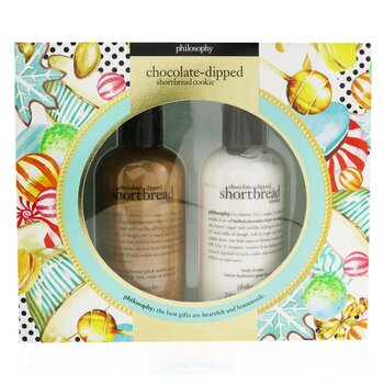 Chocolate-Dipped Shortbread Cookie 2-Pieces Gift Set: Shampoo, Shower Gel & Bubble Bath 240ml + Body Lotion 240ml  2x240ml/8oz