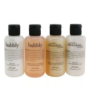 Sweetest Party Favors 4-Pieces Git Set: Vanilla Chocolate Cumble (Shampoo, Shower Gel & Bubble Bath 120ml + Body Lotion 120ml ) +   Bubbly (Shampoo, Shower Gel & Bubble Bath 120ml + Body Lotion 120ml)  4x120ml/4oz