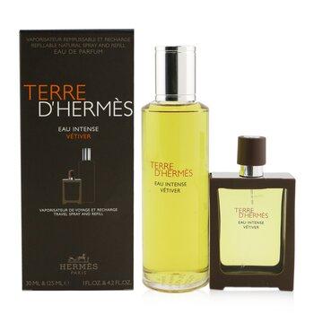 Terre D'Hermes Eau Intense Vetiver Coffret: Eau De Parfum Spray 30ml + Refill 125ml  2pcs