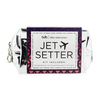 Jet Setter Kit (Mini Universal Brow Pencil + Mini Tweezer + Mini Spoolie Brush + Travel Bag)  3pcs+1bag