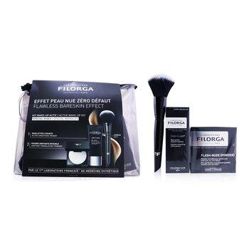 Flawless Bareskin Effect Active Make Up Kit (1x Primer + 1x Translucent Powder + 1x Make Up Brush)  3pcs