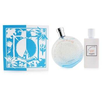 Eau Des Merveilles Bleue Coffret: Eau De Toilette Spray 100ml/3.3oz + Moisturzing Body Lotion 80ml/2.7oz  2pcs