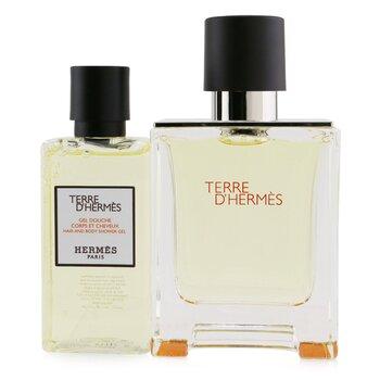Terre D'Hermes Coffret: Eau De Toilette Spray 50ml/1.6oz + Hair And Body Shower Gel 40ml/1.35oz  2pcs