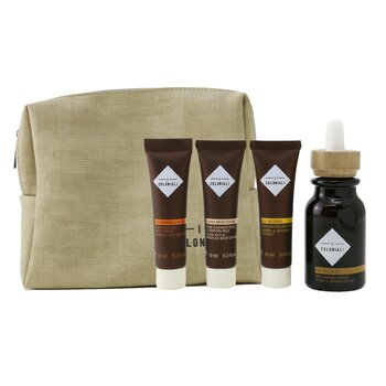 The Potion of Rebirth Set With Pouch: 1x Age Recover - Replumping Serum - 30ml/1oz + 1x Age Recover -  Replumping Rich Mask - 10ml/0.3oz + 1x Hydra Brightening Pure Radiance Rich Cleansing Milk - 10ml/0.3oz + 1x Regenerating & Velveting - Deep Massage Body Cream - 10ml/0.3oz + 1x bag - סט של סרום, מ  4pcs+1bag