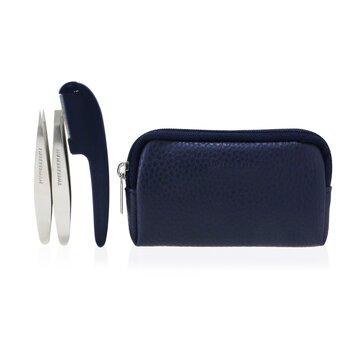 G.E.A.R. Brow Grooming Kit: Mini Flat Tweezers + Mini Point Tweezers + Facial Razor + Case  3pcs+1case