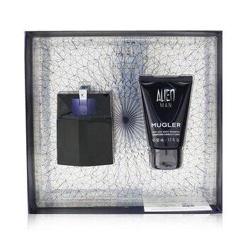 Alien Man Coffret: Eau De Toilette Refillable Spray 50ml/1.7oz + Hair And Body Shampoo 50ml/1.7oz  2pcs