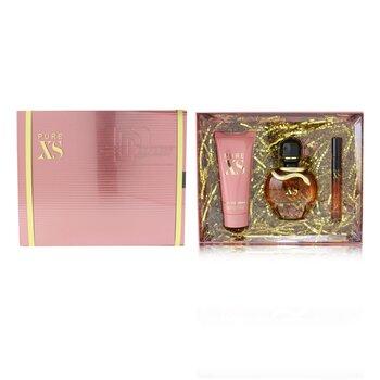 Pure XS Coffret: Eau De Parfum Spray 80ml/2.7oz + Eau De Parfum Spray 10ml/0.34oz + Sensual Body Lotion 100ml/3.4oz  3pcs