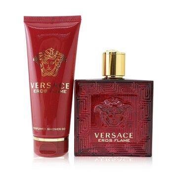 Eros Flame Coffret: Eau De Parfum Spray 100ml/3.4oz + Shower Gel 100ml/3.4oz  2pcs