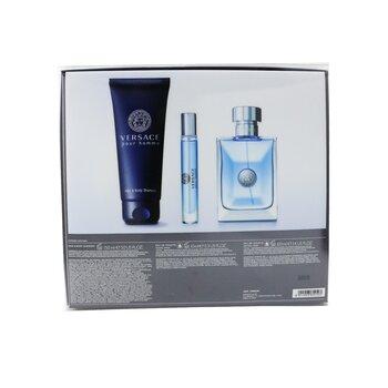 Versace Pour Homme Coffret: Eau De Toilette Spray 100ml/3.4oz + Eau De Toilette Spray 10ml/0.3oz + Hair & Body Shampoo 150ml/5oz  3pcs