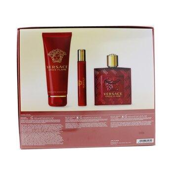 Eros Flame Coffret: Eau De Parfum Spray 100ml/3.4oz + Eau De Parfum Spray 10ml/0.3oz + Shower Gel 150m/5oz  3pcs