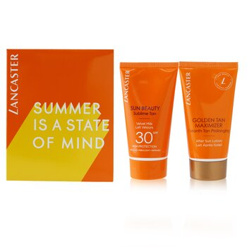 Summer Is A State of Mind Set: 1x Sun Beauty Sublime Tan Velvet Milk SPF 30 - 50ml/1.7oz + 1x Golden Tan Maximizer After Sun Lotion - 50ml/1.7oz  2pcs