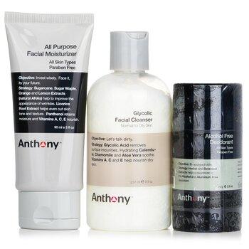 Basic Kit With Alcohol Free Deodorant: Cleanser 237ml + Moisturizer 90ml + Deodorant 70g  3pcs