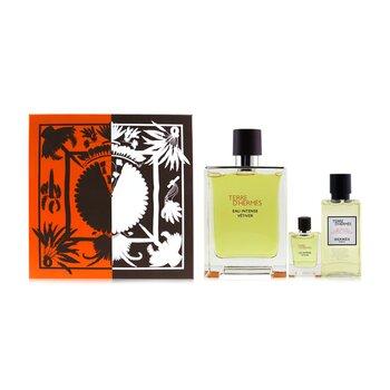 Terre D'Hermes Eau Intense Vetiver Coffret: Eau De Parfum 100ml/3.3oz + Hair & Body Shower Gel 40ml/1.35oz + Eau De Parfum 5ml/0.17oz  3pcs