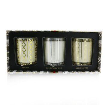 Festive Votive Trio Candles Coffret: Holiday, Birchwood Pine, Blue Cypress & Snow  3x57g/2oz