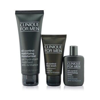 Great Skin For Men Oil Control 3-Pieces Set : Face Wash 50ml +  Exfoliating Tonic 30ml + Mattifying Moisturizer 100ml  3pcs
