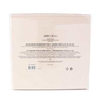 Jimmy Choo Coffret: Eau De Parfum Spray 100ml/3.4oz + Eau De Parfum Spray 7.5ml/0.25oz + Body Lotion 100ml/3.3oz  3pcs