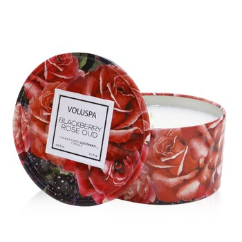 2 Wick Tin Candle - Blackberry Rose Oud  170g/6oz