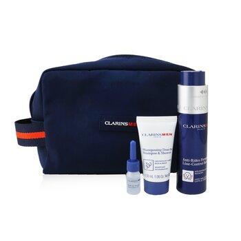 Men Expert Firming Essentials Set: Line-Control Balm 50ml + Shampoo & Shower 30ml + Shave Ease oil 3ml  3pcs+1pouch