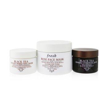 Face Mask Set: 1x Rose Face Mask - 100ml/3.3oz + 1x Black Tea Firming Overnight Mask - 30ml/1oz + 1x Black Tea Instant Perfecting Mask - 30ml/1oz  3pcs