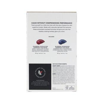 Superfruit Mask Duo (Limited Edition): Cranberry Exfoliating Face Mask 30g+ Blueberry Nourishing Face Mask 30g  2pcs