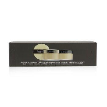 Matte & Glow Translucent Loose Setting Powders & Puff Duo (2x Loose Setting Powder, 1x Mini Velour Puff)  2x9.3g/0.33oz