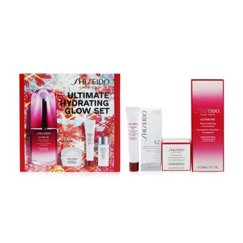 Ultimate Hydrating Glow Set: Ultimune Power Infusing Concentrate 30ml + Moisturizing Gel Cream 10ml + Eye Concentrate 5ml + SPF 42 Sunscreen 7ml  4pcs