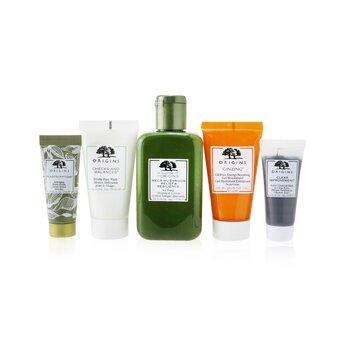 Best Sellers Best Skin 5-Pieces Set: Soothing Treatment Lotion 100ml + Gel Moisturizer 30ml +  Face Wash 30ml + Serum 15ml + Charcoal Mask 15ml  5pcs+1bag