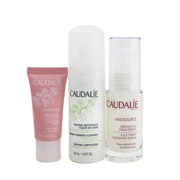 Vinosource S.O.S Hydration Set: S.O.S Thirst-Quenching Serum 30ml+ Instant Foaming Cleanser 50ml+ Moisturizing Sorbet 15ml  3pcs