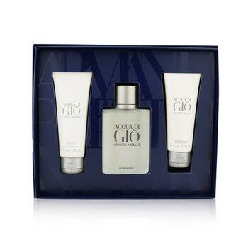 Acqua Di Gio Coffret: Eau De Toilette Spray 100ml/3.4oz + All Over Body Shampoo 75ml/2.5oz + After Shave Balm 75ml/2.5oz  3pcs