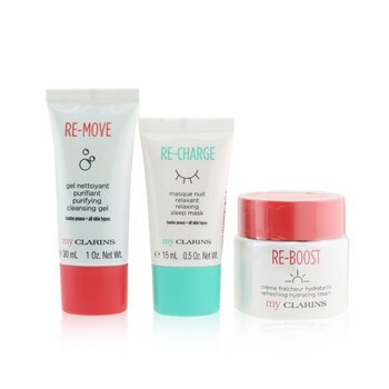 My Clarins The Essentials Set: Re-Boost Hydrating Cream 50ml+ Re-Move Cleansing Gel 30ml+ Re-Charge Sleep Mask 15ml  3pcs