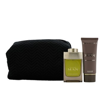 Man Wood Essence Coffret: Eau De Parfum Spray 100ml/3.4oz + After Shave Balm 100ml/3.4oz + Pouch  2pcs+Pouch
