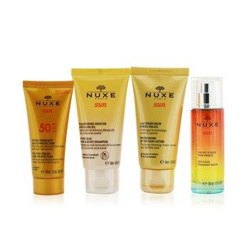 Nuxe Sun My Summer Ritual Coffret: Melting Cream High Protection For Face SPF 50 30ml/1oz + After-Sun Hair & Body Shampoo 50ml/1.6oz + Refreshing After-Sun Lotion For Face & Body 50ml/1.6oz + Delicious Fragrant Water Spray 30ml/1oz  4pcs