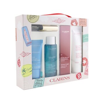 Clarins With Love From Suitcase Set (1x Eclat Minute Instant Light Natural Lip Perfector  5pcs