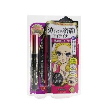 Heroine Make Volume & Curl Mascara Advanced Film + Smooth Liquid Eyeliner Set  2pcs