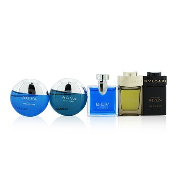 The Men's Gift Collection: Man In Black Eau De Parfum + Man Wood Essence Eau De Parfum + Aqva Eau De Toilette + Aqva Atlantique Eau De Toilette + Blv Eau De Toilette  5x5ml/0.17oz