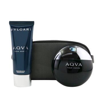 Aqva Pour Homme Coffret: Eau De Toilette Spray 100ml/3.4oz + After Shave Balm 100ml/3.4oz + Pouch  2pcs+Pouch