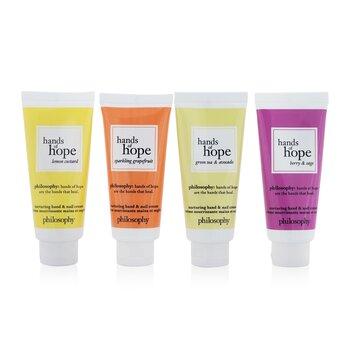 Hope For All Nurturing Hand & Nail Cream 4-Pieces Set: Lemon Custard 30ml + Sparkling Grapefruit 30ml + Green Tea & Avocado 30ml + Berry & Sage 30ml  4x30ml/1oz