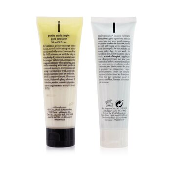 Mask, Peel & Glow 2-Pieces Set: Purity Made Simple Pore Extractor 30ml + Renewed Hope In A Jar Peeling Mousse 30ml  2x30ml/1oz
