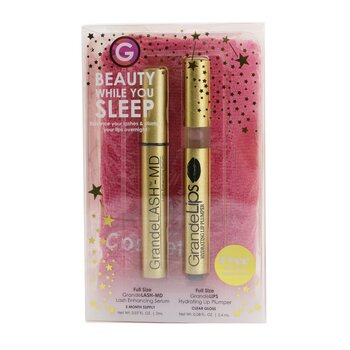 Beauty While You Sleep Set: GrandeLASH MD 2ml + GrandeLIPS 2.4ml + Microfiber Turban Towel  3pcs