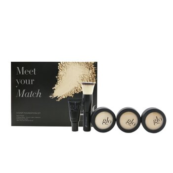 Meet Your Match 3 Step Foundation Kit (Face Primer + 2x Pressed Base + Perfecting Powder + Mini Kabuki Brush)  5pcs