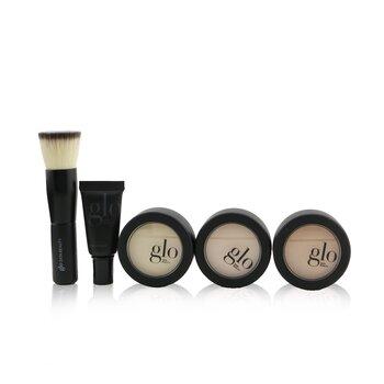 Meet Your Match 3 Step Foundation Kit (Face Primer+ 2x Pressed Base+Perfecting Powder+Mini Kabuki Brush)  5pcs